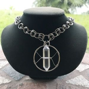 Handmade stainless steel quartz crystal necklace